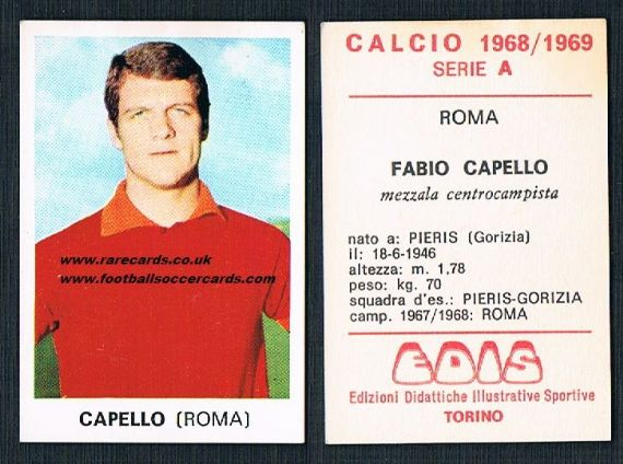 1968 Edis Calcio 1968 Fabio Capello Roma  unused Italian sticker